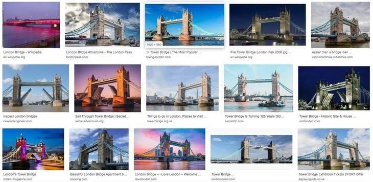 Si tienes dificultades para saber cuál es el 'Puente de Londres', no te preocupes: a Google Imágenes le pasa igual. El famoso puente colgante no es el 'Puente de Londres' es el 'Puente de la Torre' (vía Londonist.com)