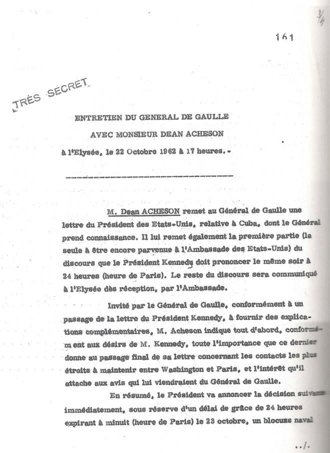 """Así se lee en el """"Très secret"""" Reporte oficial de ese encuentro."""