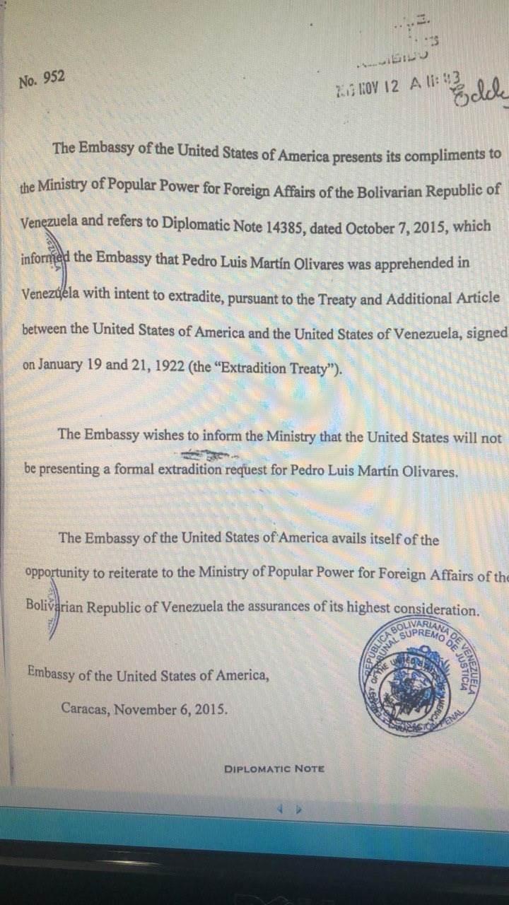 La embajada de EE.UU. informa al Ministerio del Poder Popular para Relaciones Exteriores de la República Bolivariana de Venezuela que no presentarán la solicitud formal de extradición.