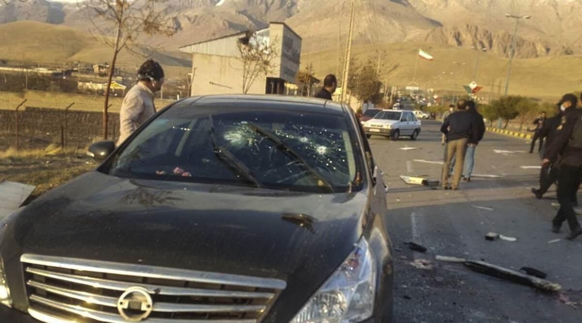 El coche del científico iraní después de ataque terrorista
