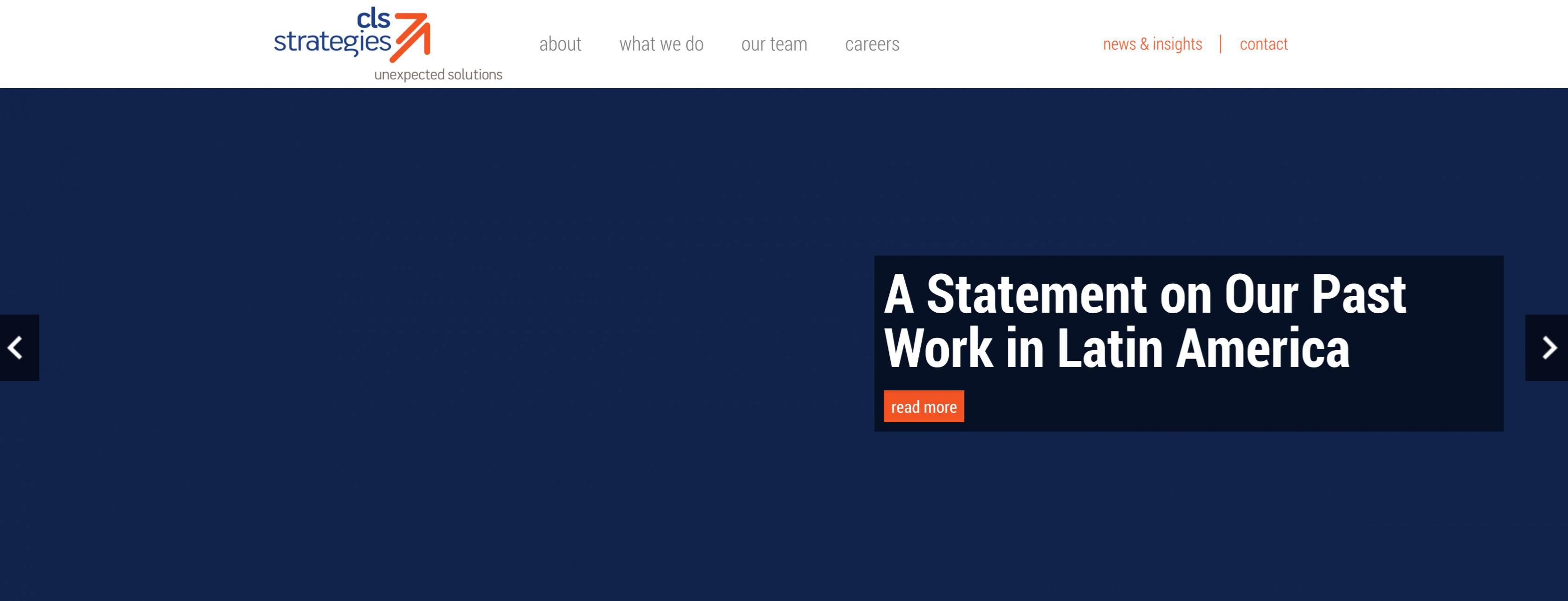La página principal del sitio web CLS Strategies