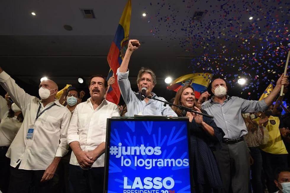 Elecciones Ecuador 2021: Guillermo Lasso pronuncia un discurso en Quito tras su triunfo. Foto: EFE