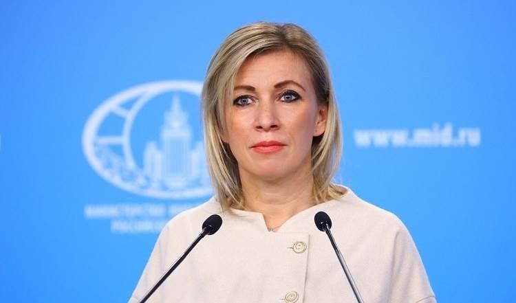 María Zajarova, vocera de la Cancillería rusa.