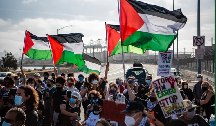 Protestas en Nueva Jersey contra atraque de un barco israelí.