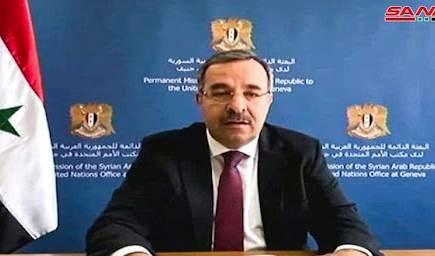 El representante permanente de Siria ante la Oficina de las Naciones Unidas y las Organizaciones Internacionales en Ginebra, el embajador Husam Eddin Ala.